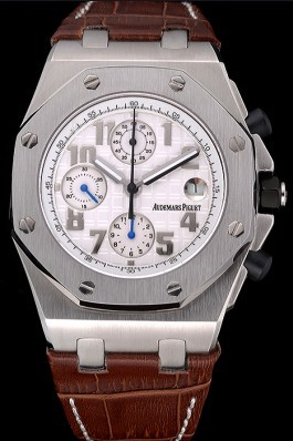 Swiss Audemars Piguet Royal Oak Offshore White Dial Stainless Steel Case Brown Leather Strap 622848
