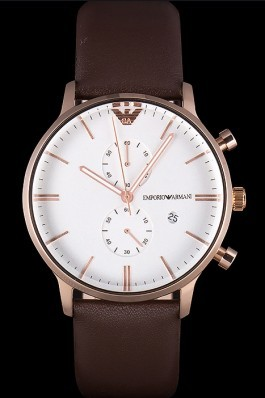Emporio Armani Classic Stainless Steel Watch with White Dial and Brown Leather Band ea31 621421