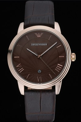 Emporio Armani Classic Brown Dial Gold Case Brown Leather Bracelet 622336