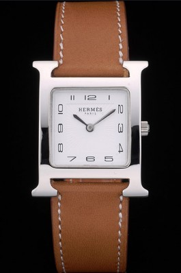 Hermes Heure H Stainless Steel Polished Bezel Tan Leather Strap White Dial 80230