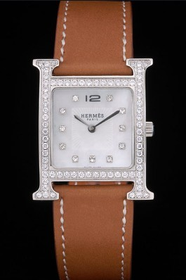 Hermes Heure H Stainless Steel Diamond Encrusted Bezel Tan Leather Strap White Dial 80232