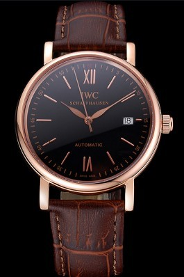 Swiss IWC Portofino Gold Case Black Dial Brown Leather Bracelet 622669