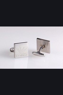 Emporio Armani Replica Logo Engraved Square Stainless Steel Cufflinks