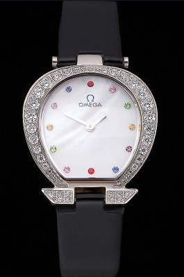 Omega Ladies Watch White Dial With Jewels Stainless Steel Case With Diamonds Case White Leather Strap 622826