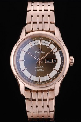 Omega Swiss DeVille Rose Gold Bezel Brown Dial 7597