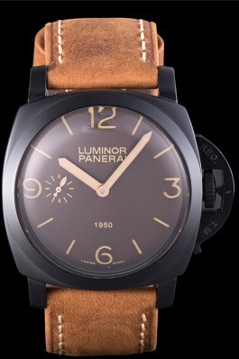 Brown Top Replica 8534 Brown Leather Strap Panerai Luminor Black Ionized Luxury Watch