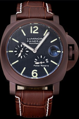 Panerai Luminor Luxury Replica Brown Leather Strap Black Dial 3986751