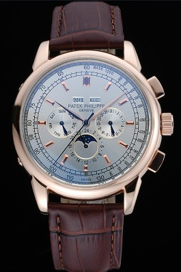 Patek Top Replica 8645 Brown Leather Strap Grand Complications Brown Luxury Watch 53