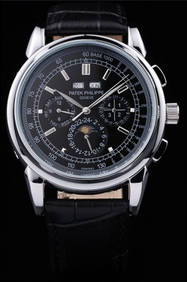 Black Top Replica 8641 Black Leather Strap Philippe Grand Complications Luxury Watch 51