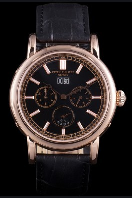 Patek Philippe Grand Complications Rose Gold Bezel Black Croco Strap 80292