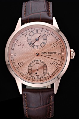Patek Philippe Geneve Two Dial Rose Dial Rose Gold Bezel Brown Leather Band 622149