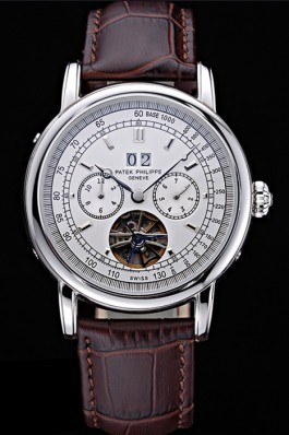 Patek Philippe Geneve Grand Complications White Dial Tourbillon Stainless Steel Bezel Brown Band 622154