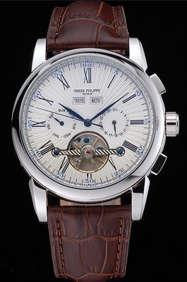 Patek Philippe Grand Complications Stainless Steel Case White Dial Roman Numerals Brown Leather Strap 622254