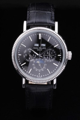 Patek Top Replica 8622 Black Leather Strap Complications Silver Luxury Watch 1