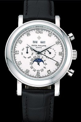 Patek Top Replica 8629 Black Leather Strap Complications Black Luxury Watch 13