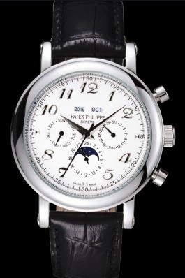 White Top Replica 8644 Black Leather Strap Philippe Grand Complications Luxury Watch 50