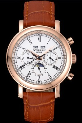 Patek Top Replica 8628 Brown Leather Strap Complications Luxury Watch 9