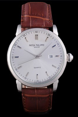 Patek Philipe Calatrava Stainless Steel Ribbed Bezel Brown Leather Bracelet 801429