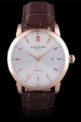 Patek Philipe Calatrava Roze Gold Polished Bezel Brown Leather Bracelet 801430