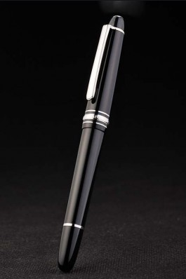 MontBlanc Top Replica 8312 Black Strap Silver Trimmed Black Enamel Ballpoint Pen With MB Inscribing