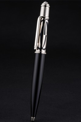 Cartier Silver Rimmed Silver Patterned Upper Body Black Ballpoint Pen 622757