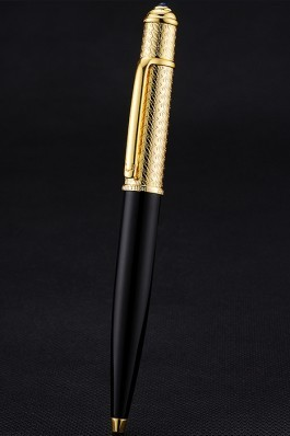 Cartier Gold Rimmed Gold Embossed Upper Body Black Ballpoint Pen 622761