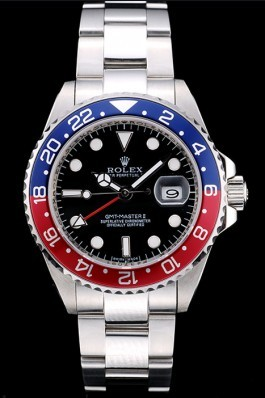 Rolex GMT Top Replica 9156 Master II Blue-red Ceramic Bezel Black Dial Tachymeter