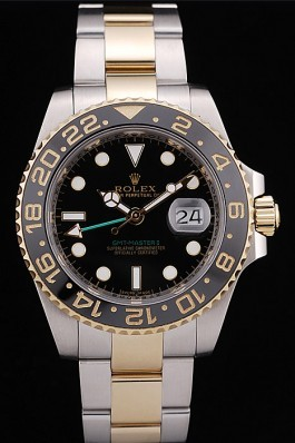 Rolex Top Replica 8858 Silver Stainless Steel Strap GMT Master II Black Ceramic Tachymeter Black Dial