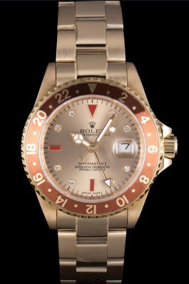 Rolex GMT Top Replica 9158 Master II Gold Colored Ceramic Bezel Gold Dial Tachymeter