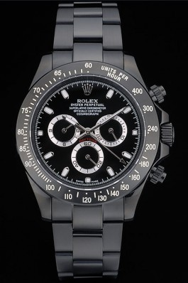 Rolex Daytona Black Ion Plated Tachymeter Black Stainless Steel Strap Black Dial 80247