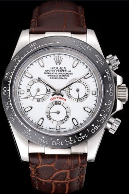 Rolex Cosmograph Daytona Stainless Steel Case White Dial Brown Leather Bracelet 622631