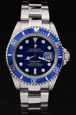 Rolex Top Replica 8887 Silver Stainless Steel Strap Submariner Blue Tachymeter Blue Dial