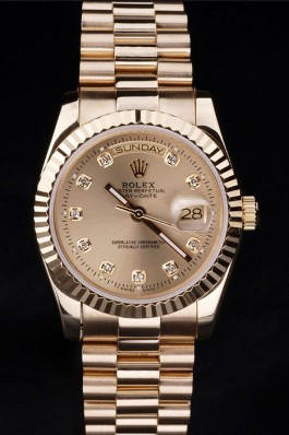 Gold Top Replica 8796 Gold Stainless Steel Strap Day-Date Luxury Watch 2