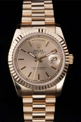 Rolex Top Replica 8822 Gold Stainless Steel Strap Gold Luxury Watch