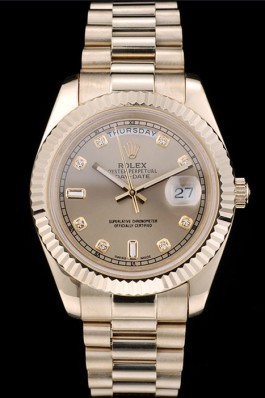 Rolex DayDate Top Replica 9182 Gold Stainless Steel Ribbed Bezel Goldish Dial 41979