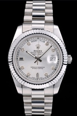 Rolex DayDate Stainless Steel Ribbed Bezel Silver Dial 41976