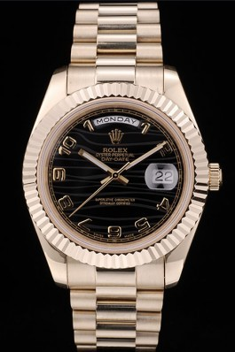 Rolex DayDate Top Replica 9183 Black Patterned Dial Gold Stainless Steel Strap 41980