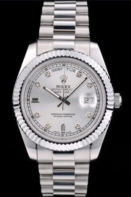 Rolex Swiss Top Replica 9211 DayDate Stainless Steel Ribbed Bezel Silver Dial 41995