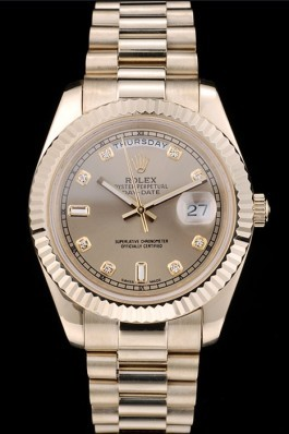 Rolex Swiss Top Replica 9213 DayDate Gold Stainless Steel Ribbed Bezel Gold Dial 41997