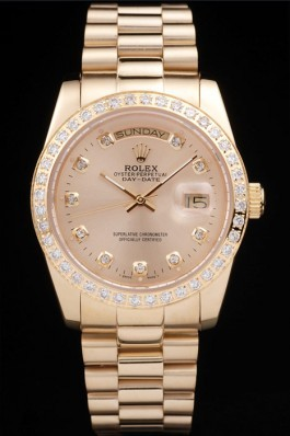 Rolex Top Replica 8797 Gold Stainless Steel Strap Luxury Gold Watch 270