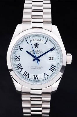 Silver Top Replica 8801 Stainless Steel Strap Day-Date Luxury Watch 197
