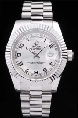White Top Replica 8812 Stainless Steel Strap Day-Date Luxury Watch