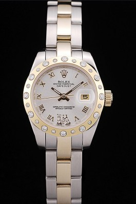 Rolex Top Replica 8779 Silver Stainless Steel Strap DateJust Brushed Stainless Steel Case White Dial Diamond Plated