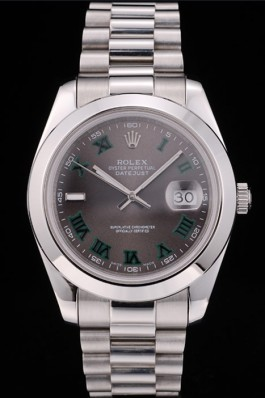 Rolex Swiss Top Replica 9216 DayDate Polished Stainless Steel Bezel Grey Dial 42000