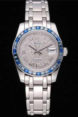 Rolex Datejust Diamond Dial Blue Jewels Bezel Stainless Steel Case And Bracelet 622834