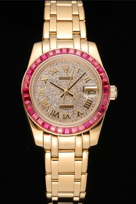 Rolex Datejust Diamond Dial Pink Jewels Bezel Gold Case And Bracelet 622835