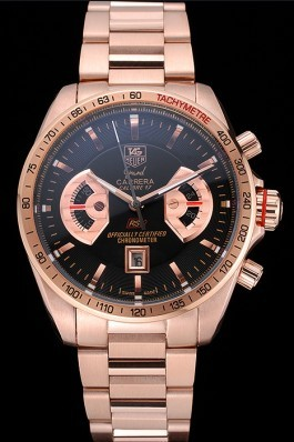 Tag Heuer Grand Carrera Rose Gold Bracelet Black Dial 801438