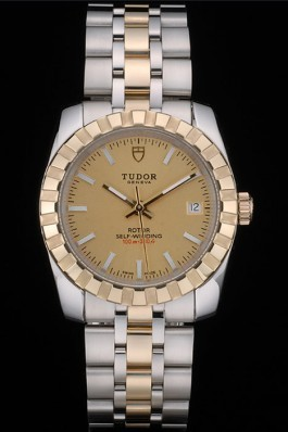 Swiss Tudor Classic Rose Gold Ribber Bezel Crystal Encrusted Golden Dial 80302