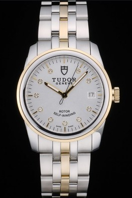 Swiss Tudor Classic Rose Gold Ribber Bezel Crystal Encrusted Silver Dial 80303