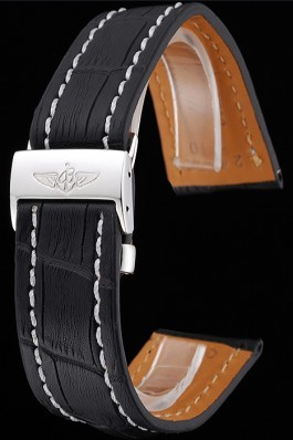 Breitling Black Leather White Stitching Bracelet 622482
